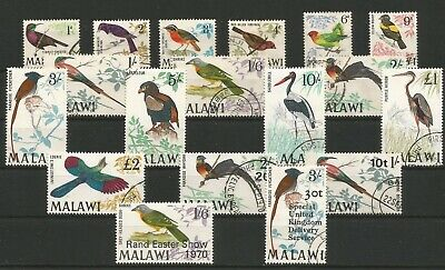 Malawi 1968 - Very Fine Used Sg310 - Sg323 Scarcer Set Of 15 Birds + Sg350 & 369
