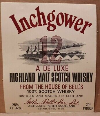 Rare BELL'S INCHGOWER Scotch whiskey Label Scotch Whisky