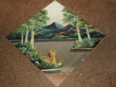 Antique Wall Hanging Hand Painted Senic  Mirror