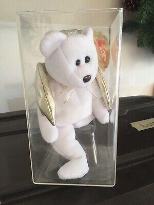 5a96f54dffc Ty Beanie Babies 2000 Halo II White Angel Bear Gold Wings BlK Eyes   BROWN  NOSE