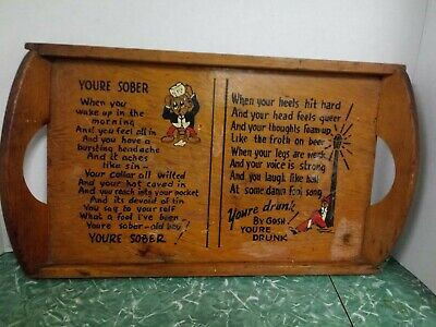 Mid Century Antique Hand Painted Wood Bar Tray With Bars Name Stamped On Back