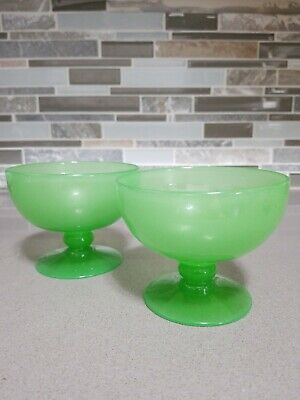 Antique French Royal Jade Green Opaline Footed Dishes Opaque