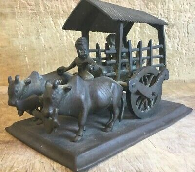 Very Unusual Interesting Antique Chinese  / Asian Cast Ox And Cart Figure Group