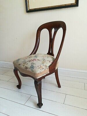 Antique Victorian Tapestry Needlepoint Nursing Chair, Bedroom Chair, Hall Chair