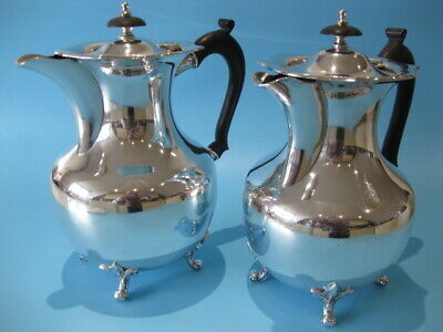 Beautiful Pair Large Antique Silver Plated Bulbous Coffee Pots Georgian Style