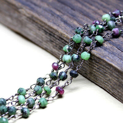 Oxidized Natural Tourmaline 3 mm Roundel Loose Beads Wire Wrapped Rosary Chain