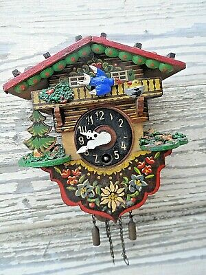 Vintage German Made Solid Wooden Wind Up Miniature Cuckoo Clock With Key Gwo