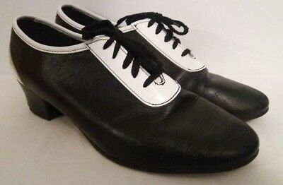 Vero Cuoio Black & White Leather Ladies Shoes with Heels UK Size 8