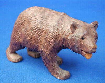 A carved wooden prowling bear figure, antique, Black Forest