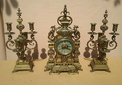Antique Mantle Clock French Japy Freres Gilt Bronze  & Garniture Set gothic