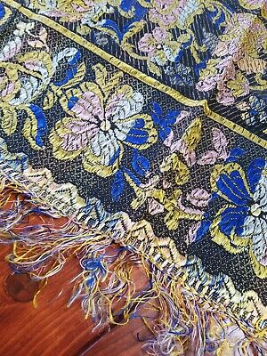 Antique or Vintage Piano Scarf Shawl Floral w Fringe Deep Blue Pink Gold 36x36