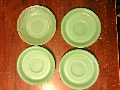 "FIRE KING ""OVEN WARE"" 1950'S Jadite BREAD BUTTER Plates (4) USA (6"")"