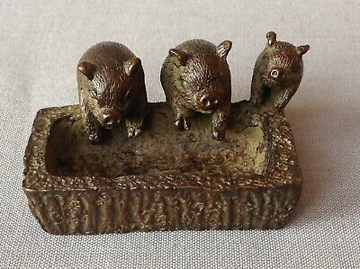 Pigs at trough Chinese miniature bronze group of pigs, signed