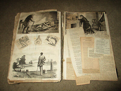 Antique 1867 120 Pg Ledger Scrap Book 1880's Clippings Stories Awesome!