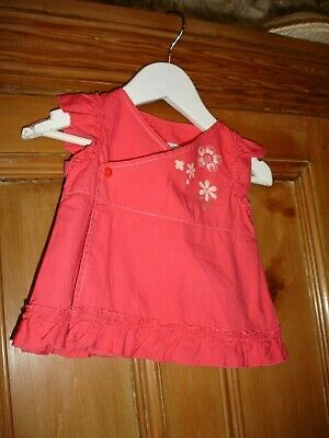 vertbaudet BABY GIRLS TUNIC WRAP DRESS/CORAL/COTTON/AGE 9MTHS