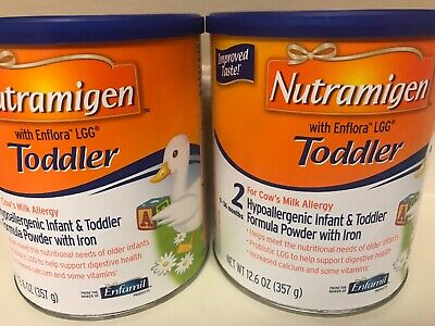 2 Cans Nutramigen Toddler With Enflora LGG Hypoallergenic W/ Iron Formula Powder