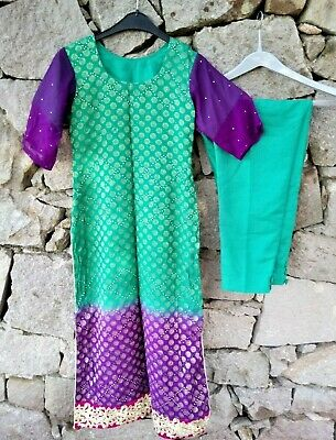 Vintage Indian Kameez Tunic Purple Green Embroidery Diamante Asian Size XS