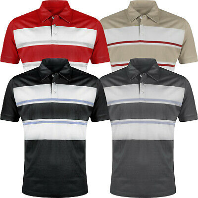 Mens Striped Polo Shirt 100% Cotton Short Sleeve Casual Contrast Jersey Tee Top