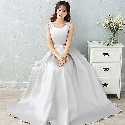 Bridal Wedding Sleeveless Maxi Long Dress Bridesmaid Cocktail Party Prom Gown