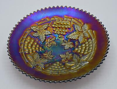 """Vintage Northwood Amethyst Carnival Glass 9"""" Plate - Grape & Cable Pattern"""