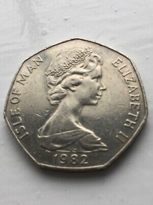 1982 ISLE OF MAN 50p COIN WITH VIKING LONGSHIP DESIGN CIRCULATED CONDITION