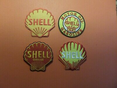 Lot Of 4-Different Shell Gas & Oil Iron On Embriodered Patches 2-3/4 X 2-3/4