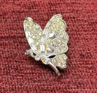 Vintage Costume Jewelry - Pin/brooch - Silver Tone Butterfly With 50 Gems
