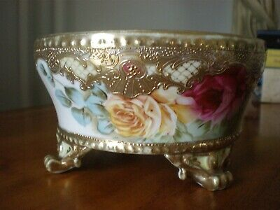 Antique Nippon Hand Painted Roses Moriage Ferner Footed Bowl AS IS Circa 1890's