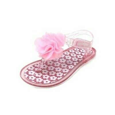 f79c74f5c Wonder Nation Toddler Girls Jelly Sandals Size 10 Clear Pink with Flower NEW
