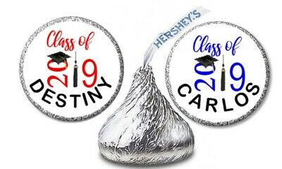 108 GRADUATION 2019 CAP ANY COLOR Personalized Hershey Kiss Labels Stickers