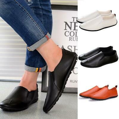 Men's Summer Breathable Loafers Soft Leather Driving Shoes Casual Slip On Flats