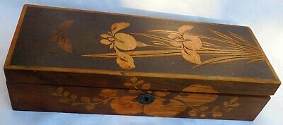 """Antique inlaid Wooden Box in Good Condition with hinged lid and no key. 11  3/8"""""""