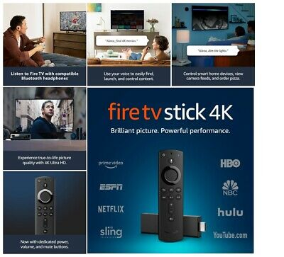 Fire TV Stick 4K with Alexa Voice Remote streaming media player 3rd NEW ORIGINAL
