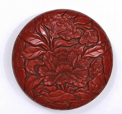 Old Chinese Ming Style Cinnabar Lacquer Deep Carved Peony Scholar Round Ink Box