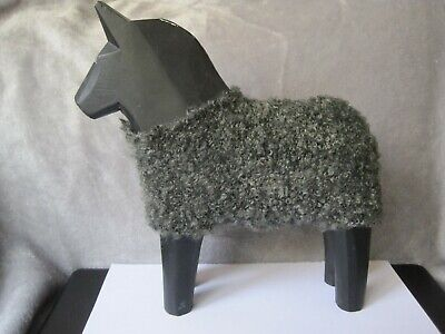 Large Black Wooden Dala Horse With A Grey Woolly Jacket Swedish