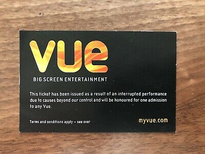 VUE Cinema Ticket - Valid At Any Vue Cinema Including West End Leicester Square