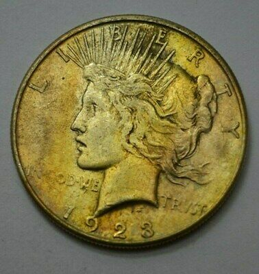 1923-S  Peace Dollar Silver $1.00 US Coin, Toned, NO RESERVE ..!!!