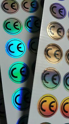 200x CE labels, stickers, holographic 10mm diameter, self adhesive