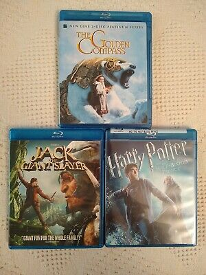 Lot of 3 Family Movies on Blu-Ray: Golden Compass/Jack Giant Slayer/Harry Potter