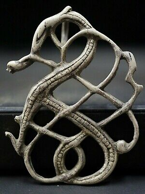 Ancient Viking Silver Amulet. Twisted Knot of Snake Serpent Creature, 950-1000Ad