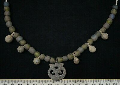 Ancient Viking Necklace String. Norse Ancient Glass & Bronze Amulets, 950-1000Ad