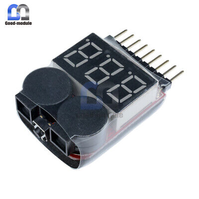 1-8S Battery Voltage 2IN1 Low Voltage Meter Tester Buzzer Alarm Tester Checker