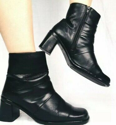 d5567b82123 VINTAGE BLACK LEATHER Heel 7 8   (Unknown) Women s Knee High Boots ...