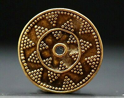Ancient Viking Solid Gold Amulet Bead. Norse Solar Symbol of Light, 950-1000 Ad.