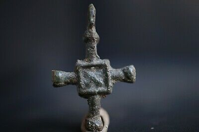 Ancient Viking Bronze Cross. Rare Amulet with Norse Runic Symbol, c 950-1000 Ad