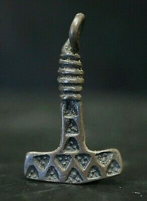 Ancient Viking Silver Mjölnir Amulet. The Hammer of God Thor, circa 950-1000 Ad
