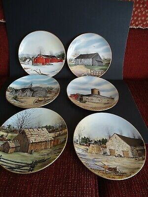 "Vintage Franciscan Porcelain ""The Vanishing Barn"" Limited Ed. 1983 Plates (SIX)"