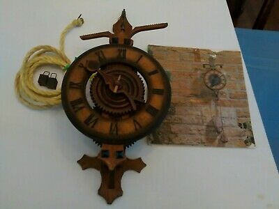 Vintage Wooden Works Skeleton Weight Driven German Wall Clock Runs/manual