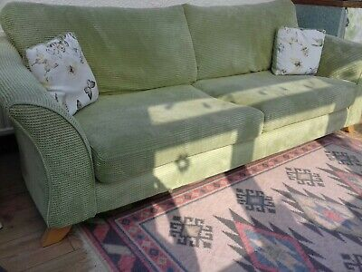 Settee, from DFS. Beautiful lime green sofa in soft candlewick style material.