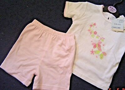 Baby Girls 3/6 Months Pink + White Butterfly Tee Shirt + Shorts Set Cherokee New